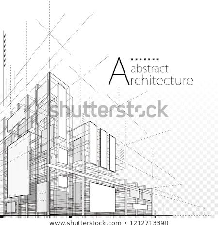 mimari · vektör · planı · teknik · çizim · beyaz - stok fotoğraf © biv