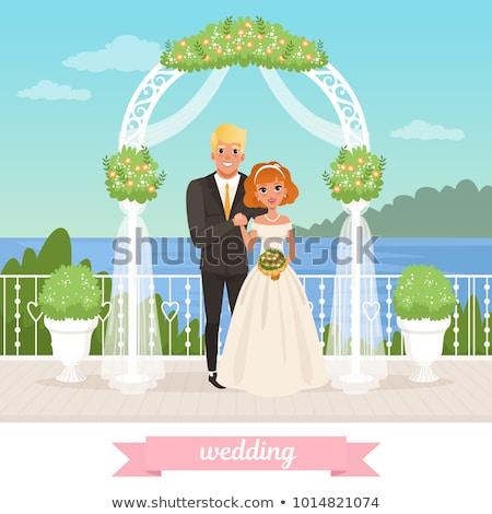 Gelukkig bruidegom permanente bruiloft boog ingericht Stockfoto © RAStudio