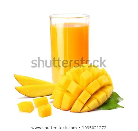 Foto d'archivio: Mango · succo · fresche · piccolo · bottiglie · legno