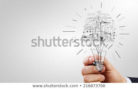 Geschäftsmann Glühbirne Projektion Geschäftsleute Technologie Stock foto © dolgachov