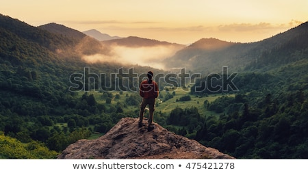 Man standing on mountain top Stock photo © IS2