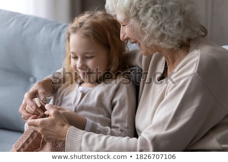 little girl interested in knitting Stock photo © IS2