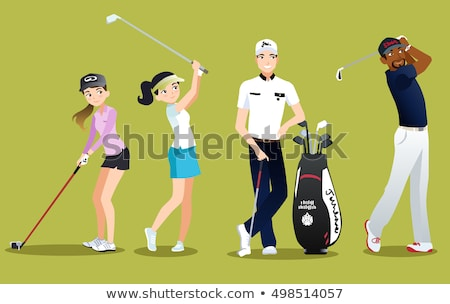 Young woman golfer on the golf course illustration isolated Stock photo © tiKkraf69