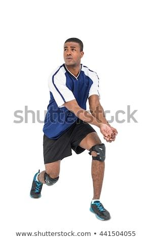 poseren · spelen · volleybal · zwarte · fitness - stockfoto © wavebreak_media
