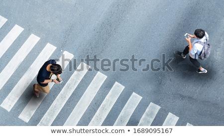 Mensen lopen smartphone weg illustratie straat Stockfoto © adrenalina