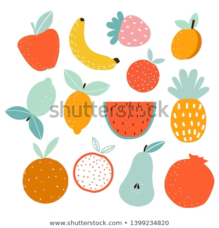 Pineapple Fruit With Green Leafs Drawing Flat Simple Design Stock photo © hittoon