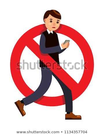 prohibition for walking with smartphone on pedestrian crossings Stock photo © adrenalina