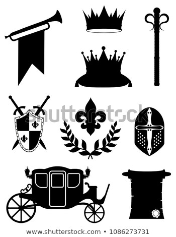 Koning koninklijk gouden middeleeuwse macht zwarte Stockfoto © konturvid