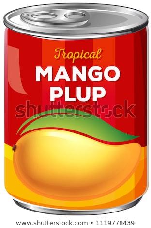 Konzerv mangó gyümölcs háttér trópusi kép Stock fotó © bluering