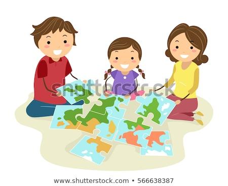 семьи Мир головоломки география иллюстрация Сток-фото © lenm