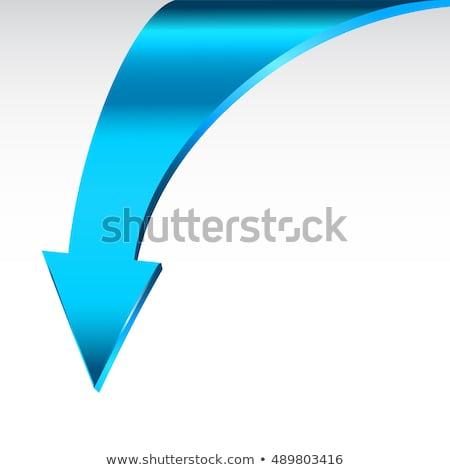 blue down arrow and neutral white background 3d illustration stock photo © essl