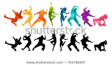 Siluet dans adam sokak kalabalık kentsel Stok fotoğraf © lemony
