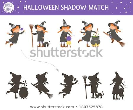 shadows game with cartoon scary halloween characters stock photo © izakowski