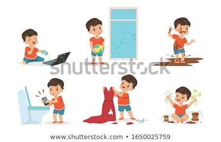 Gond fiú törik ablak illusztráció háttér Stock fotó © bluering