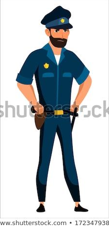 Desenho animado zangado policial homem olhando Foto stock © cthoman