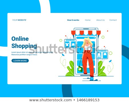 Flat isometric vector landing page template for online shopping, mobile store. stock photo © TarikVision