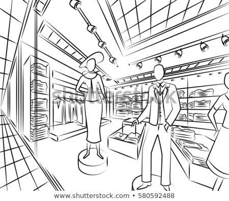 Zdjęcia stock: Meble · korytarzu · szkic · stylu · domu · domu