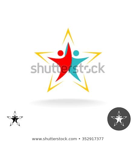 Bianco nero uomo amici star logo icona Foto d'archivio © blaskorizov