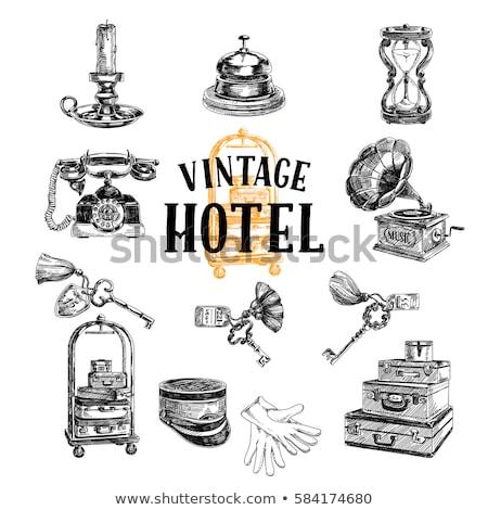 Foto d'archivio: Set · vintage · valigia · illustrazione · sfondo · bag