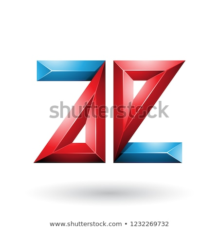 red and blue 3d geometrical embossed letter e vector illustratio stock photo © cidepix