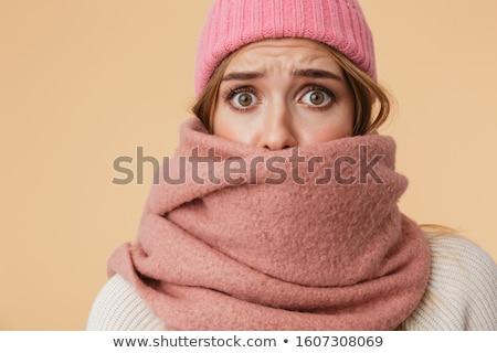недовольный заморожены женщину шарф Hat Сток-фото © deandrobot
