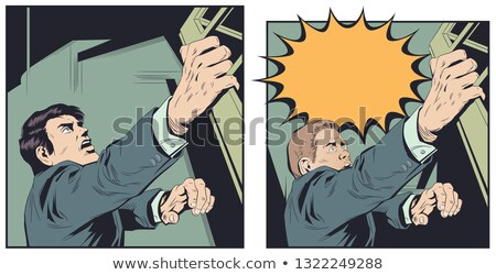 Falling Scared Businessman Vector Falls From The Edge Of The Mountain Edge Crisis, Bankruptcy, Debt  Stock photo © pikepicture