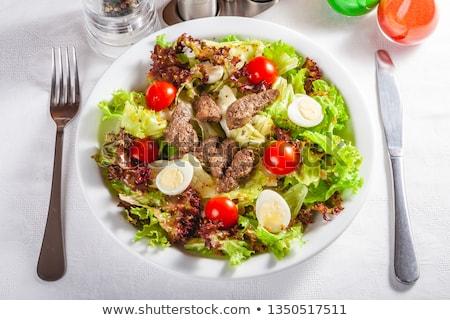 Green salad with chicken liver Stock photo © zoryanchik