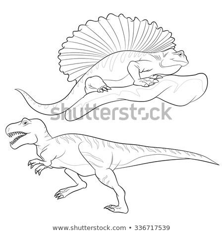 allosaurus-edaphosaurus lineart Stock photo © watcartoon