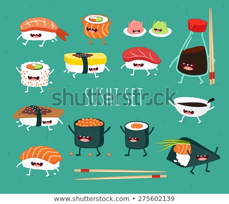 Smiling Sushi Roll Set Cartoon Characters With Chopsticks And Text. Stock photo © hittoon