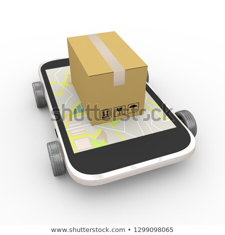 3d smartphone free shipping cargo box on wheel Stock photo © nasirkhan