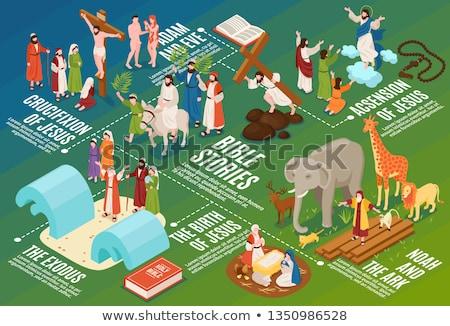 Kereszténység izometrikus ikonok eps 10 könyv Stock fotó © netkov1