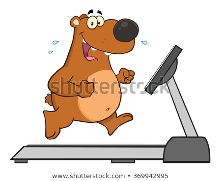smiling brown bear cartoon character running on a treadmill with speech bubble stock photo © hittoon