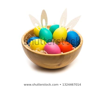 ovos · de · páscoa · tigela · Páscoa · cartão · colorido · mesa · de · madeira - foto stock © karandaev
