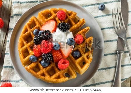 Crispy homemade waffles with berries Stock photo © Peteer