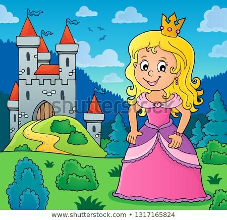 Prinzessin Thema Bild Mädchen Kunst Burg Stock foto © clairev