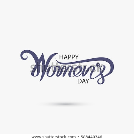 Happy Women's Day Illustration with Tulip Flower and 8 March Typography Letter on Blue Background. V Stock photo © articular
