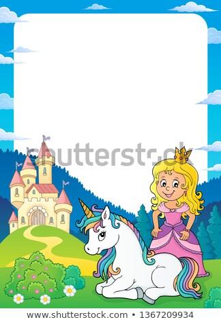princess and unicorn theme frame 1 stock photo © clairev