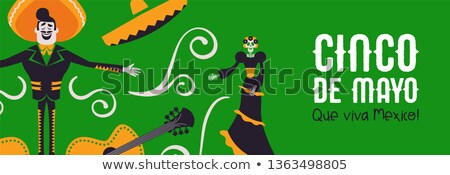 Happy Cinco de Mayo banner of mariachi and catrina Stock photo © cienpies