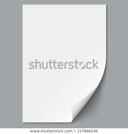 Blank A4 sheet of white paper with curled corner and shadow, template for your design. Set. Vector i Stock photo © olehsvetiukha