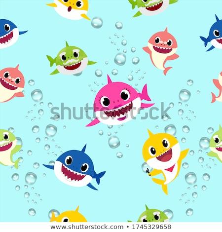 акула иллюстрация бумаги текстуры ретро Сток-фото © colematt