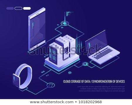Foto d'archivio: Nube · stoccaggio · dati · smartphone · computer · portatile