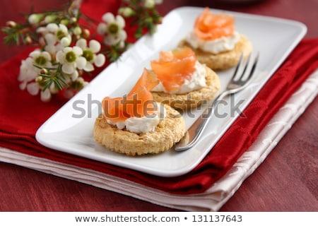 Zab korpa sütik füstölz lazac krém sajt Stock fotó © Melnyk