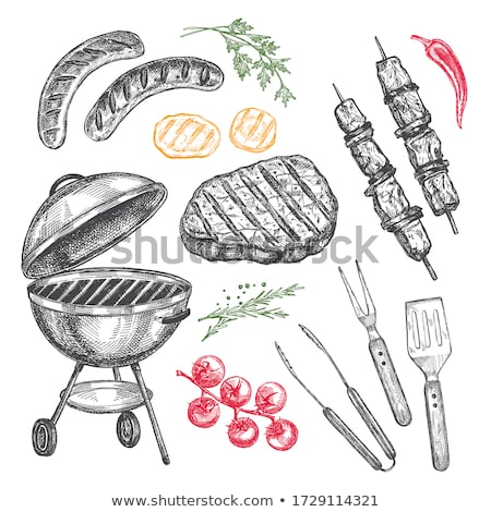 Hot Barbecue Party Sausages Vector Illustration Stock photo © robuart