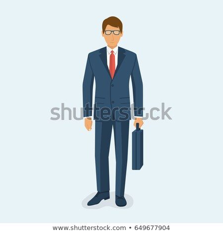 Businessman standing and holding a briefcase in hand working wit Stock photo © Freedomz