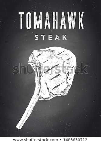 Steak, Chalkboard. Kitchen poster with steak silhouette Stock photo © FoxysGraphic