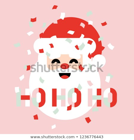 Christmas card with paper confetti and Santa saying ho ho ho Stock photo © ussr