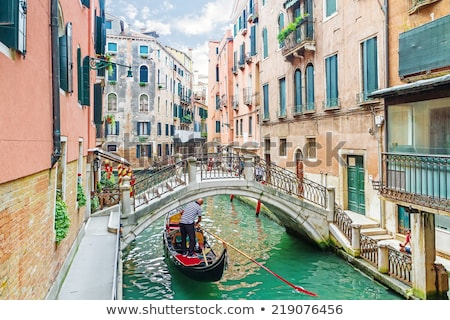 Street canal with boats in Venice, Italy Stock photo © boggy