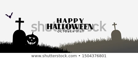 Mutlu halloween afiş kabak mezar arka plan Stok fotoğraf © SArts