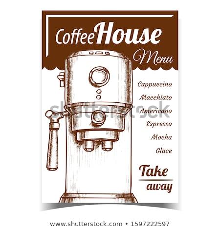 Café expreso máquina frente vista monocromo vector Foto stock © pikepicture