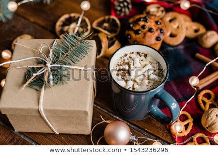 Mug with hot coffee, giftbox with conifer on top, cookies and garland Stock photo © pressmaster